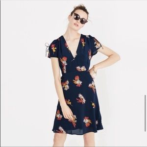 Madewell Silk Poppy Dress in Cactus Flower Print